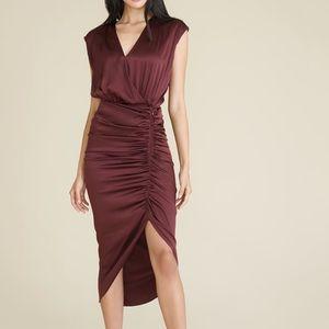 Veronica Beard Casela Ruched Stretch-Silk Dress
